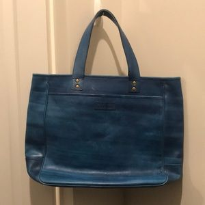 Cole Haan Genuine Leather Hand Painted Blue Tote